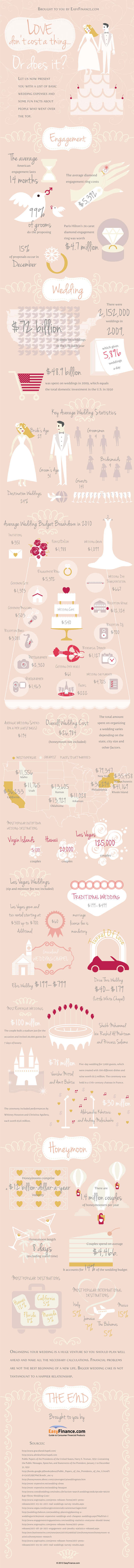 Love Don't Cost a Thing... or Does It? Crazy facts about weddings from theexcitedbride.com